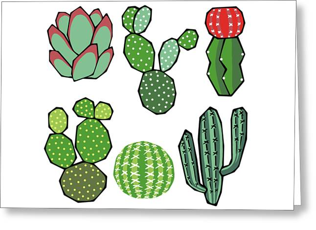 Cacti Greeting Card by Kelly Jade King