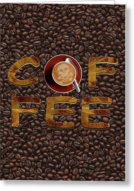 Greeting Card featuring the painting Coffee Funny Typography by Georgeta Blanaru