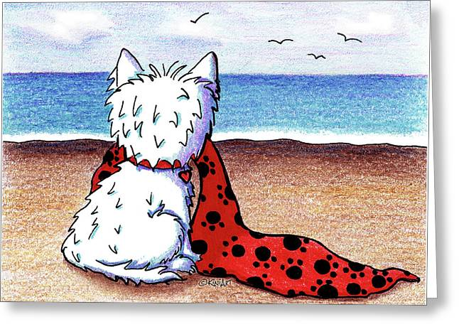 Kiniart Beach Blanket Westie Greeting Card by Kim Niles