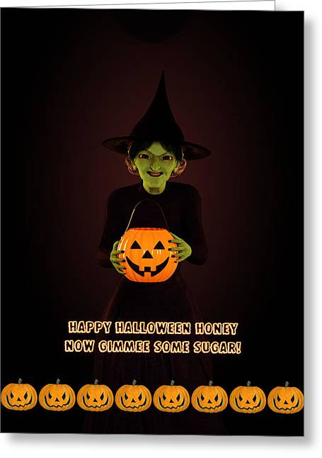 Gimmee Some Sugar Witch Greeting Card by Methune Hively