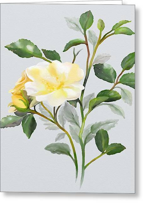 Yellow Watercolor Rose Greeting Card