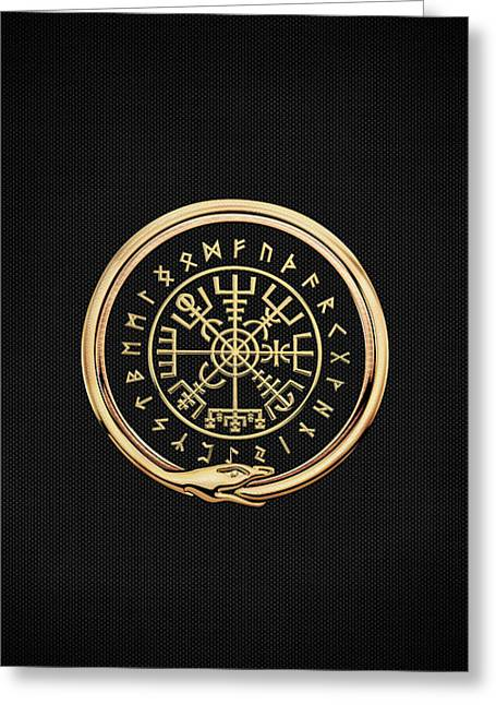 Vegvisir - A Magic Icelandic Viking Runic Compass - Gold On Black Greeting Card