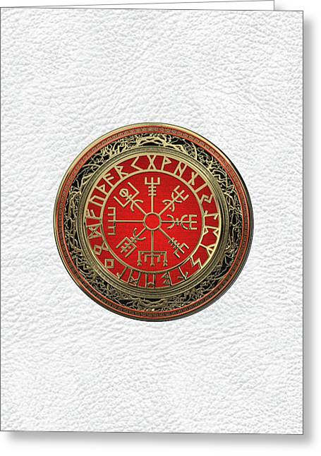 Vegvisir - A Silver Magic Viking Runic Compass On White Leather Greeting Card
