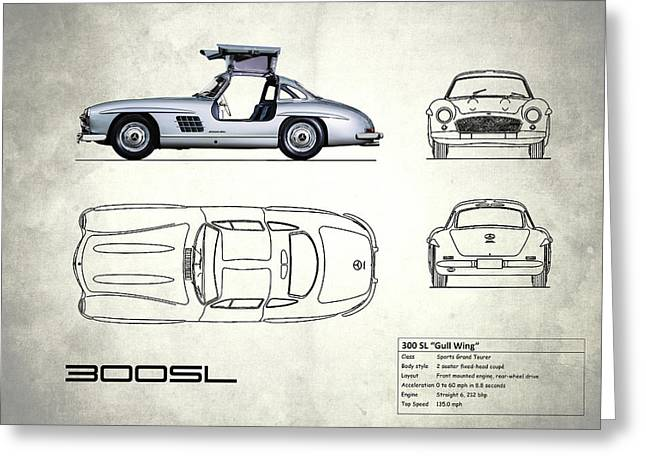 The 300 Sl Gullwing Blueprint - White Greeting Card