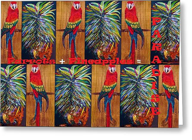 Parrots And Pineapples Greeting Card