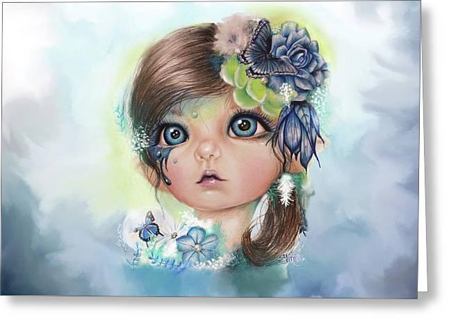 Greeting Card featuring the mixed media Indigo - Butterfly Keeper - Munchkinz By Sheena Pike  by Sheena Pike