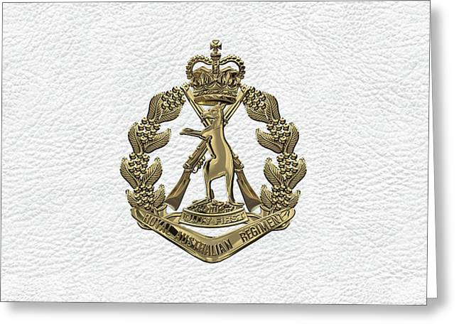 Royal Australian Regiment   -  R A R  Badge Over White Leather Greeting Card by Serge Averbukh