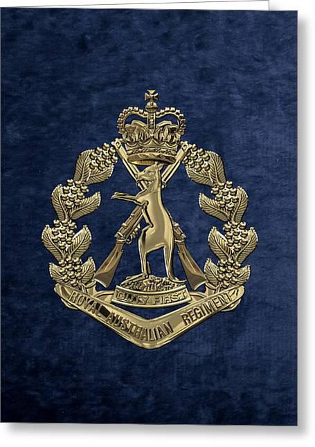 Royal Australian Regiment   -  R A R  Badge Over Blue Velvet Greeting Card by Serge Averbukh