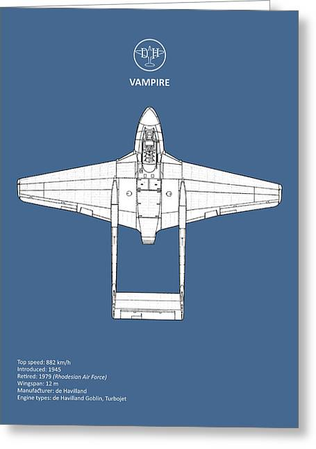 The De Havilland Vampire Greeting Card by Mark Rogan