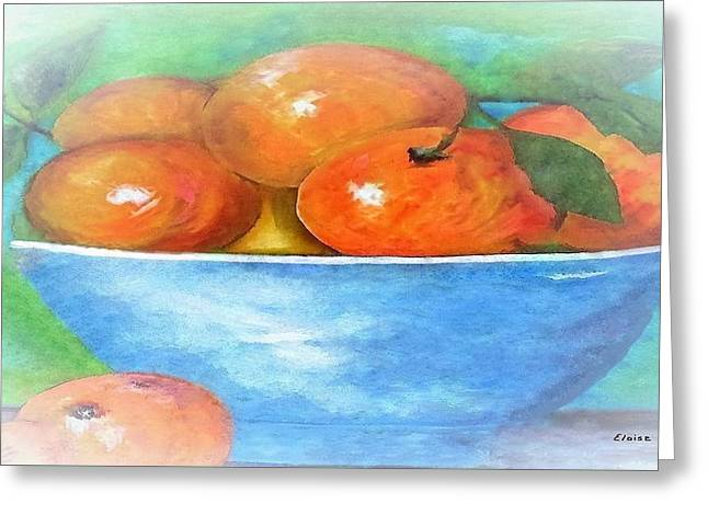 Peaches In A Blue Bowl Vignette Greeting Card