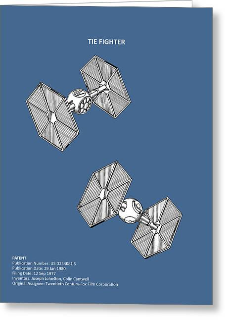 Star Wars - Tie Fighter Patent Greeting Card by Mark Rogan