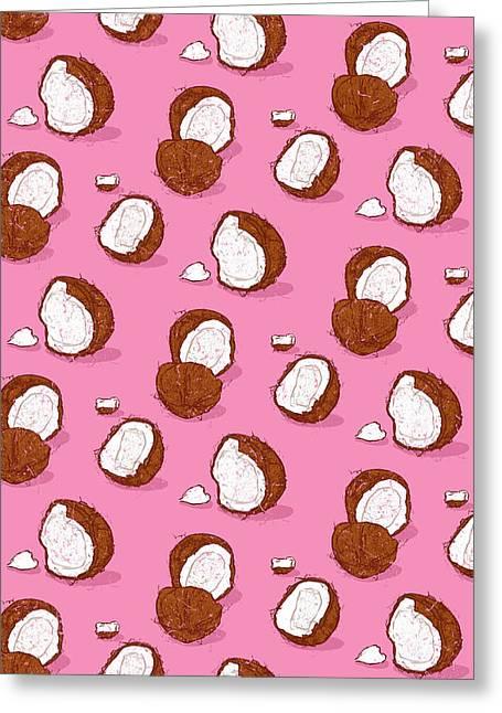 Coconut Greeting Card by Evgenia Chuvardina