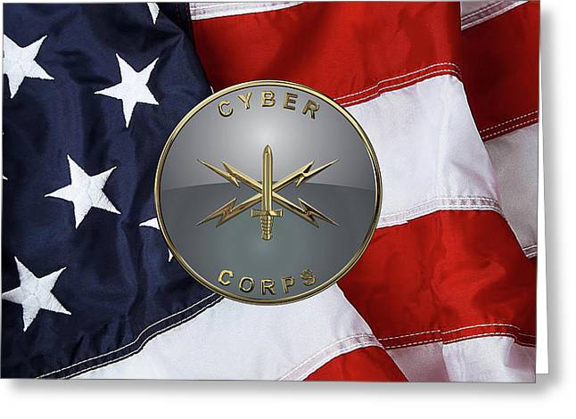 U. S.  Army Cyber Corps - Branch Plaque Over American Flag Greeting Card by Serge Averbukh