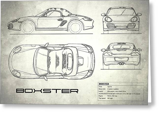 The Boxster Blueprint - White Greeting Card by Mark Rogan