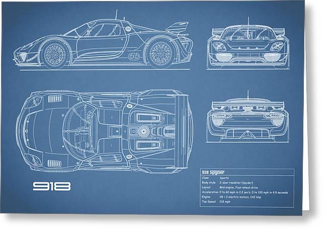 The 918 Spyder Blueprint Greeting Card by Mark Rogan
