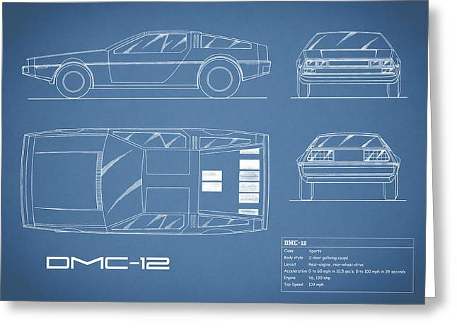 The Delorean Dmc-12 Blueprint Greeting Card by Mark Rogan