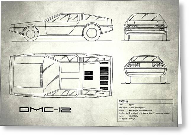 The Delorean Dmc-12 Blueprint - White Greeting Card by Mark Rogan