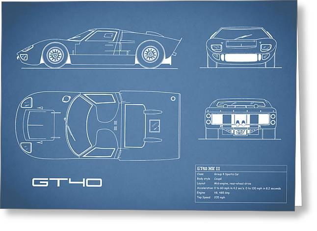 The Gt40 Blueprint Greeting Card by Mark Rogan