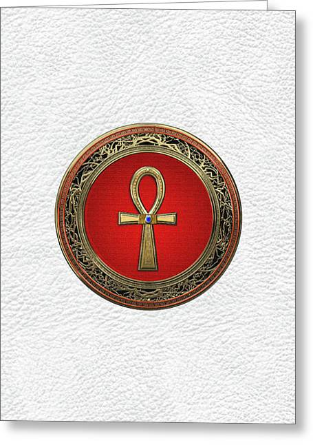 Ancient Egyptian Ankh - Sacred Golden Cross Over White Leather Greeting Card