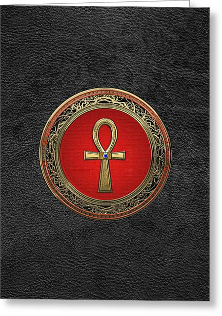 Ancient Egyptian Ankh - Sacred Golden Cross Over Black Leather Greeting Card