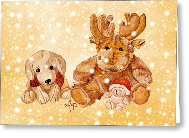 Christmas Buddies II Greeting Card by Angeles M Pomata