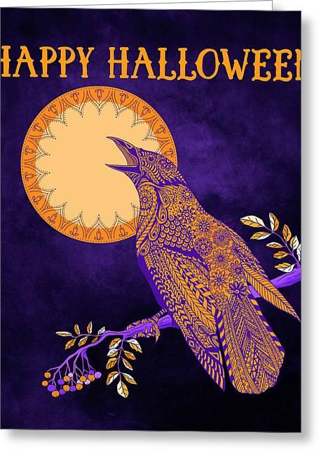 Halloween Crow And Moon Greeting Card