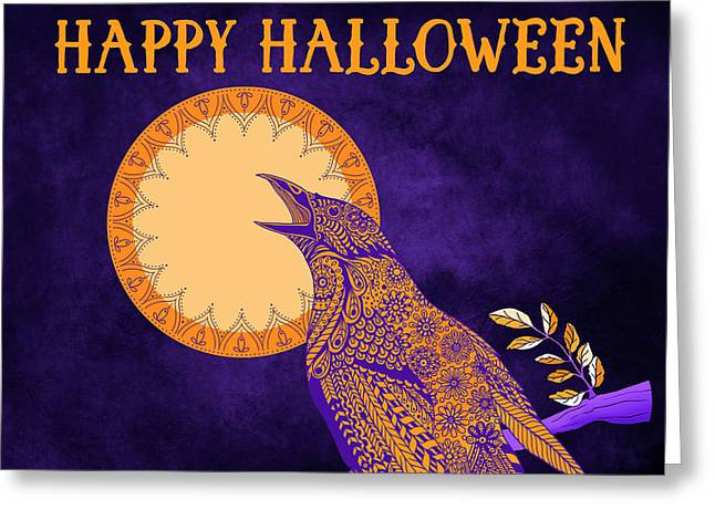 Halloween Crow And Moon Greeting Card by Tammy Wetzel