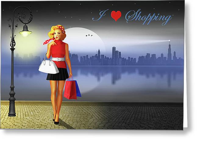 I Love Shopping Greeting Card by Monika Juengling