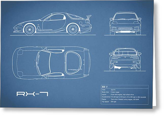 The Rx-7 Blueprint Greeting Card
