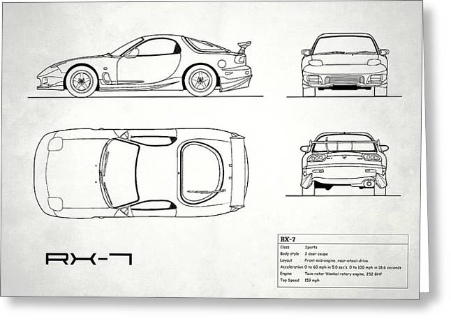 The Rx-7 Blueprint - White Greeting Card by Mark Rogan