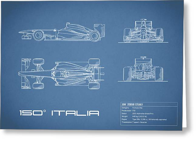 The 150 Italia Gp Blueprint Greeting Card