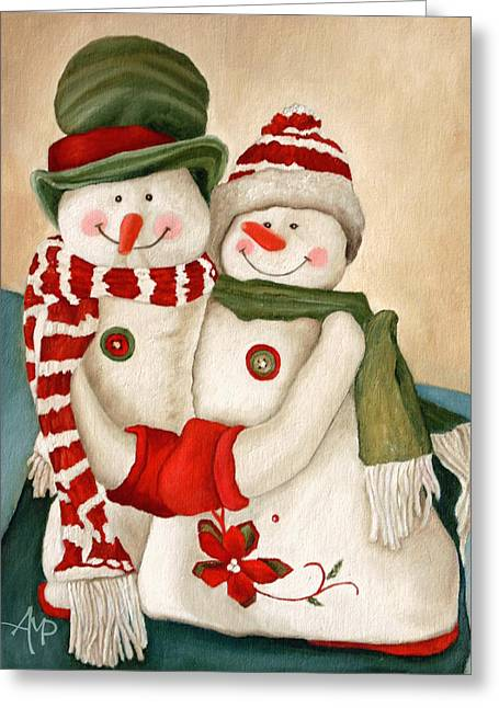 Greeting Card featuring the painting Mr. And Mrs. Snowman Vintage by Angeles M Pomata