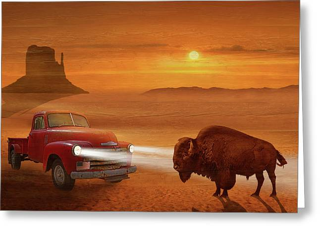 Meeting In The Sunset On Route 66 Greeting Card