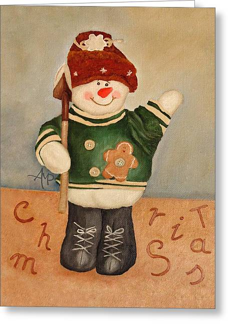 Greeting Card featuring the painting Snowman Junior by Angeles M Pomata