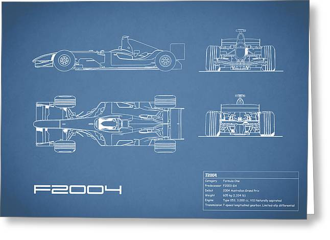 The F2004 Gp Blueprint Greeting Card by Mark Rogan