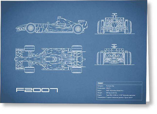 The F2007 Gp Blueprint Greeting Card by Mark Rogan