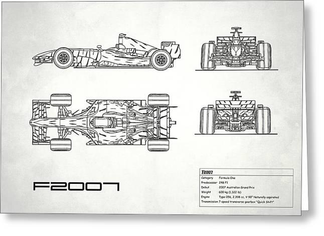 The F2007 Gp Blueprint - White Greeting Card by Mark Rogan