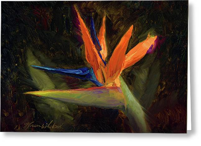 Greeting Card featuring the painting Extravagance - Tropical Bird Of Paradise Flower by Karen Whitworth