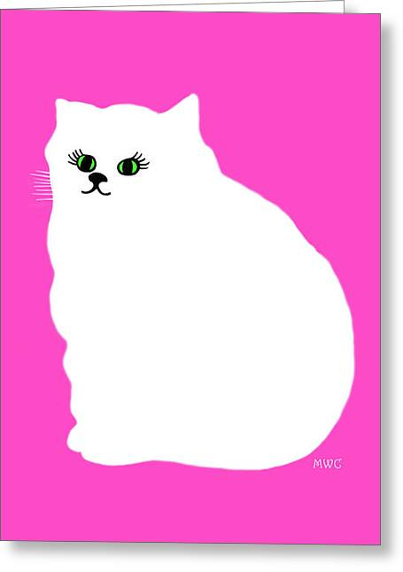 Cartoon Plump White Cat On Pink Greeting Card