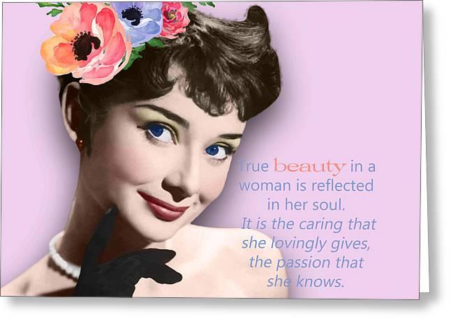 Movie Star Art - Audrey Hepburn Greeting Card by Stanley Wong
