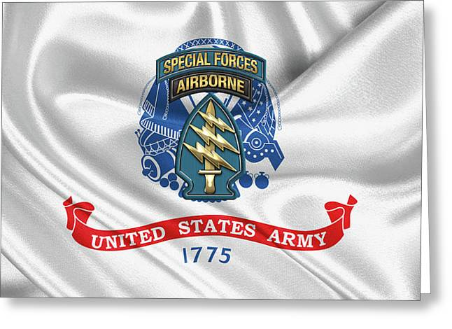 U. S.  Army Special Forces  -  Green Berets S S I Over Army Flag Greeting Card by Serge Averbukh