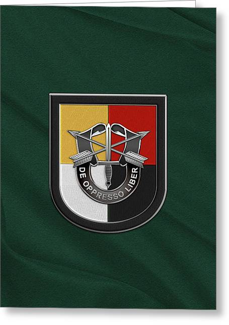 U. S.  Army 3rd Special Forces Group - 3  S F G  Beret Flash Over Green Beret Felt Greeting Card