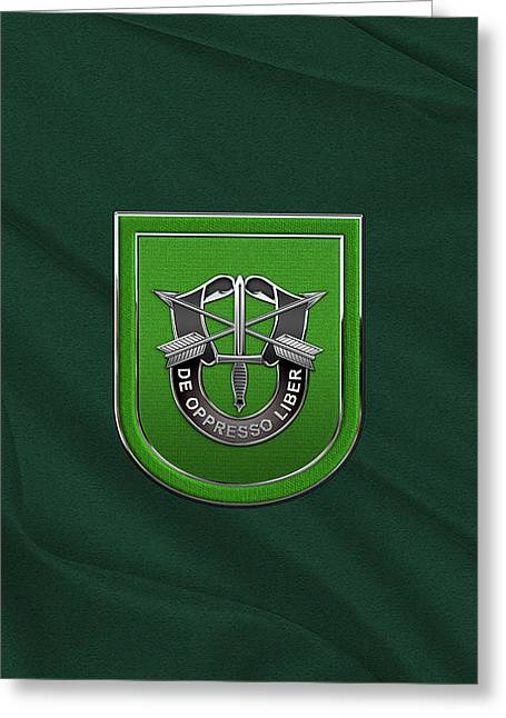 U. S.  Army 10th Special Forces Group - 10 S F G  Beret Flash Over Green Beret Felt Greeting Card