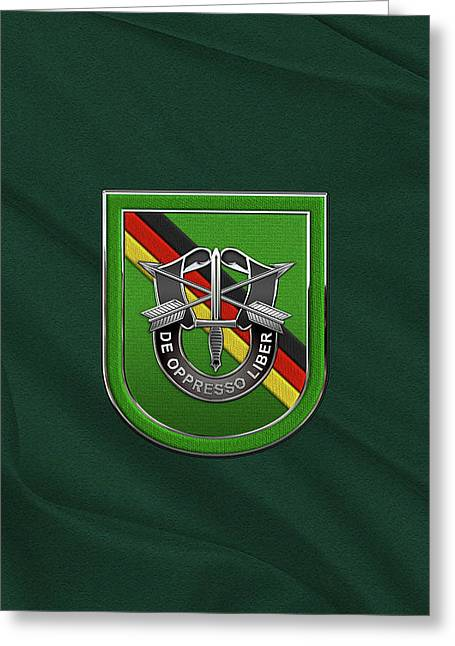 U. S.  Army 10th Special Forces Group Europe - 10 S F G  Beret Flash Over Green Beret Felt Greeting Card