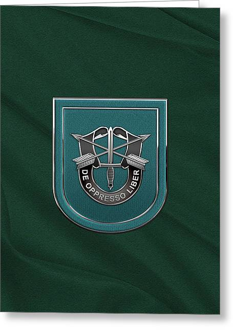 U. S.  Army 19th Special Forces Group - 19 S F G  Beret Flash Over Green Beret Felt Greeting Card