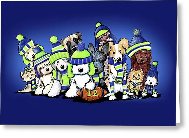 12 Dogs On Blue Greeting Card by Kim Niles