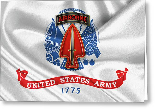 U. S.  Army Special Operations Command -  U S A S O C   C S I B Over U. S.  Army Flag Greeting Card by Serge Averbukh
