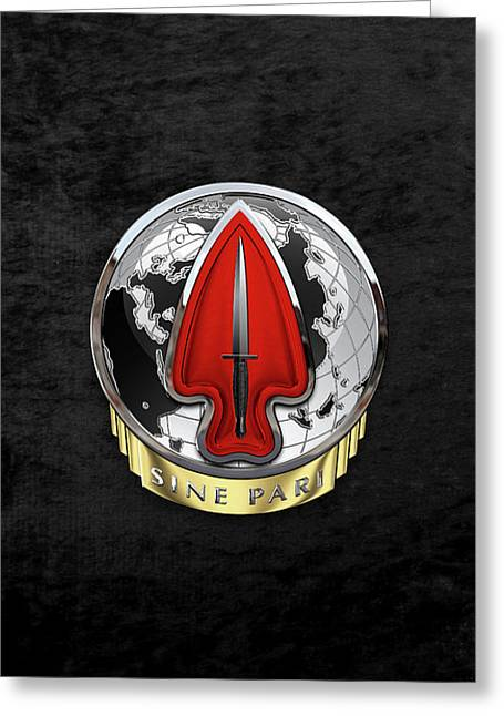 U. S.  Army Special Operations Command  -  U S A S O C    D U I Over Black Velvet Greeting Card by Serge Averbukh