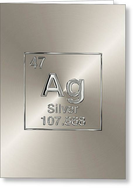 Periodic Table Of Elements - Silver - Ag Greeting Card by Serge Averbukh