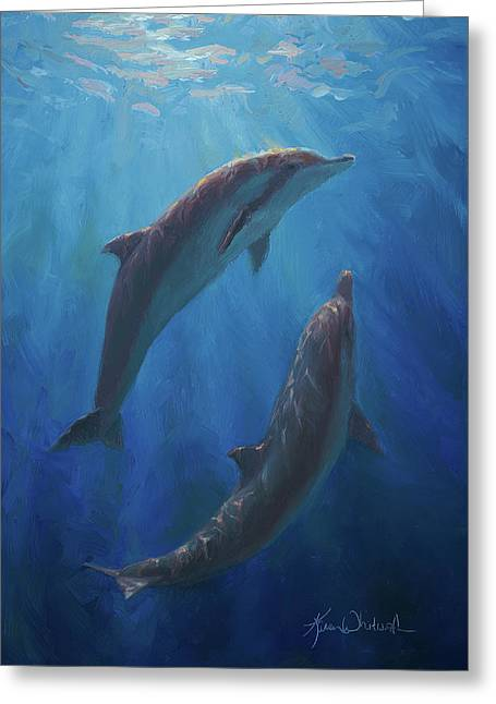 Greeting Card featuring the painting Dolphin Dance - Underwater Whales by Karen Whitworth